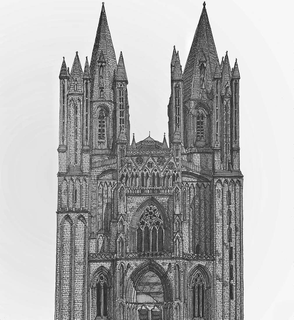 14-Coutances-Cathedral-Francesco-Messina-Urban-Sketches-and-Architectural-Drawings-from-Italy-www-designstack-co