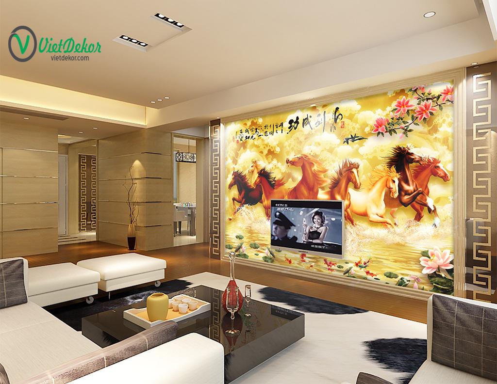 Tranh dán tường 3d mã đáo thành công trang trí phòng khách