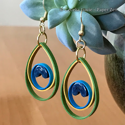 quilling paper peacock earring jewelry