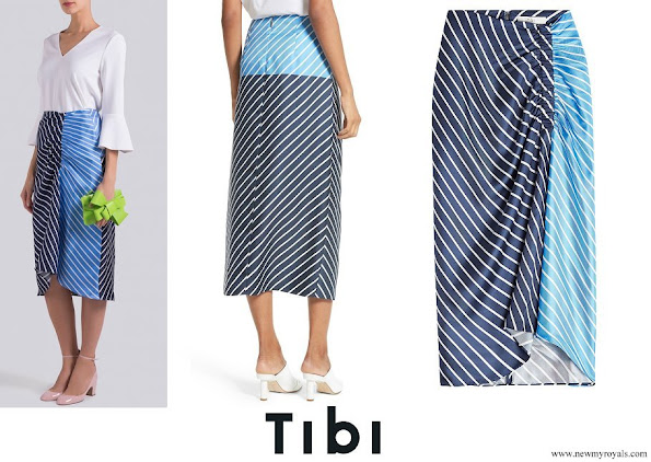 Princess Iman wore Tibi Delphina Colorblock Stripe Silk Midi Skirt
