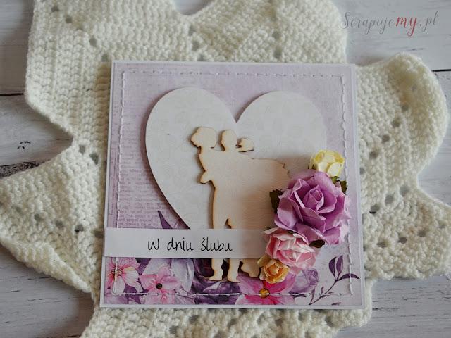 kartka z parą młodą, zaproszenie ślubne, zaproszenie z parą młodą, kartka clean&simple