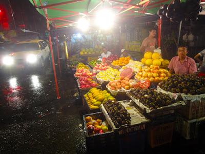 night market in Yangon Chinatown when raining