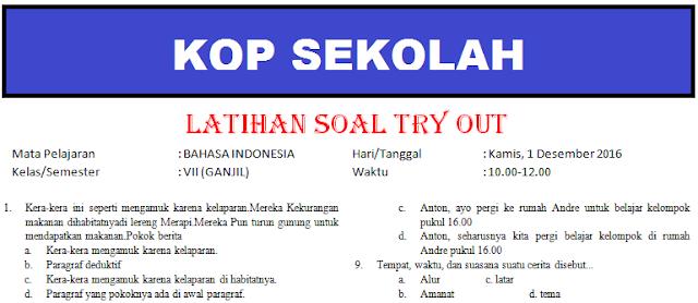 gambar soal tryout bahasa indonesia