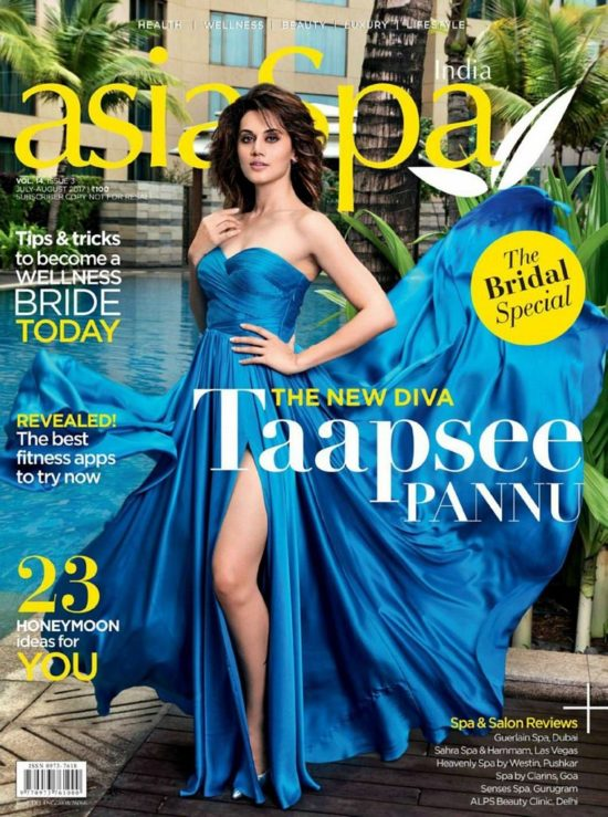 Tapsee Pannu On The Cover of asiaSpa Magazine July - August 2017