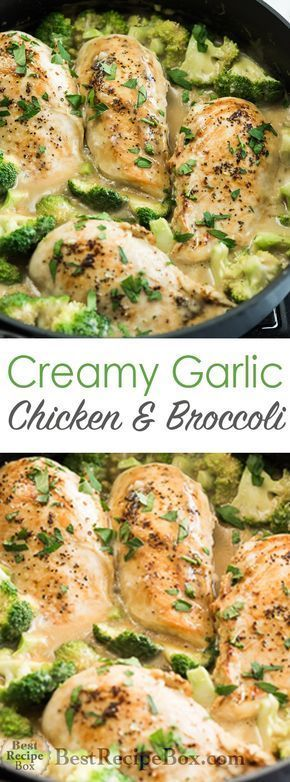 Skillet Creamy Garlic Chicken With Broccoli Delicious