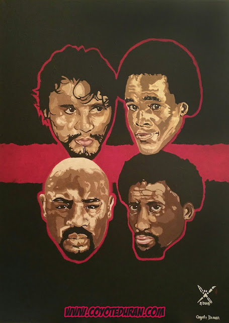 "The Four Kings of Boxing (Clockwise): Roberto Duran, Sugar Ray Leonard, Thomas Hearns and Marvelous Marvin Hagler, 18"" X 24"", Acrylic paint on stretched canvas. Art by Coyote Duran."