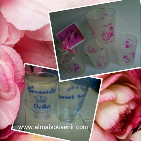 souvenir gelas, souvenir nikah gelas mini
