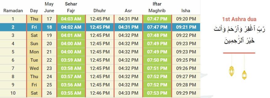 Ramadan 2018-Cyprus Ramadan and Prayer Timetable with Dua