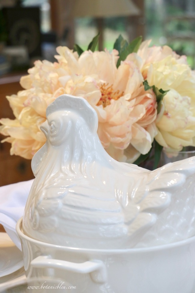 French Country Thanksgiving white rooster soup tureen for serving Coq Au Vin