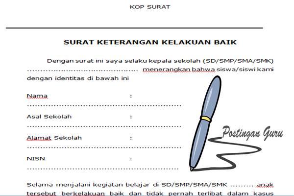 Doc Contoh Format Surat Kelakuan Baik Siswa Dari Sekolah