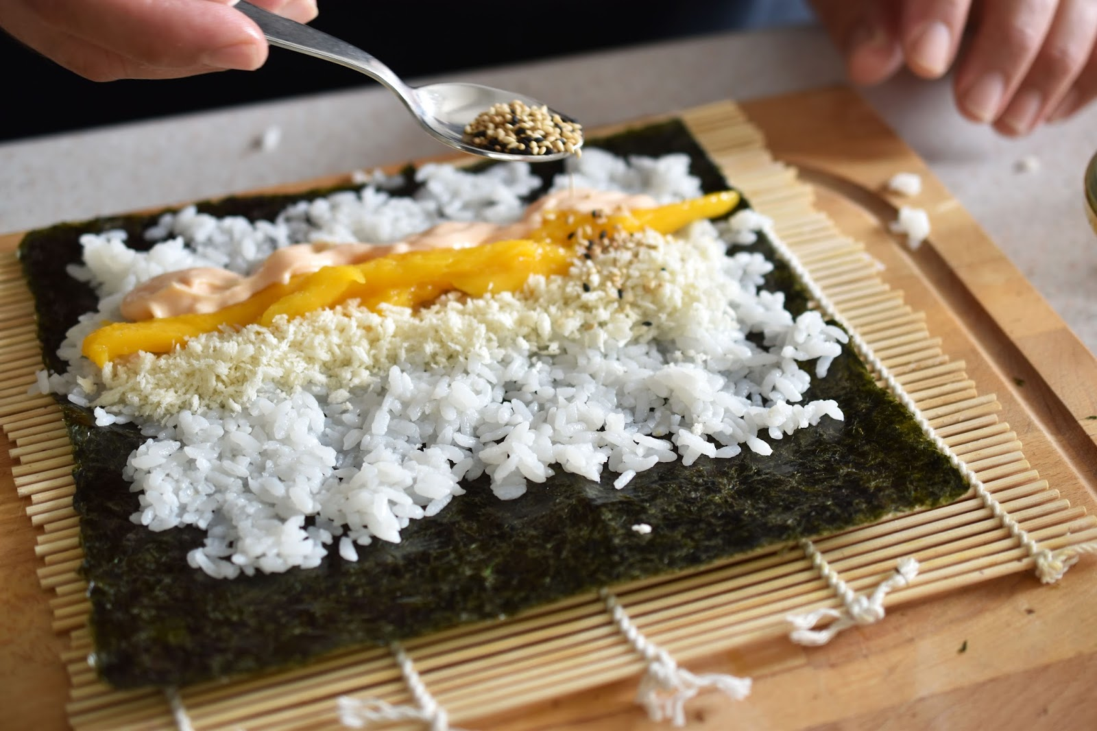 Don't Be Shy With The Toppings  You'll Get A Nice Full Roll If You're  Generous Lay Your Toppings Along The Bottom Third Of The Nori Seaweed So  They End Up