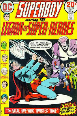 Superboy and the Legion of Super-Heroes #198, the Fatal Five who twisted time, cover