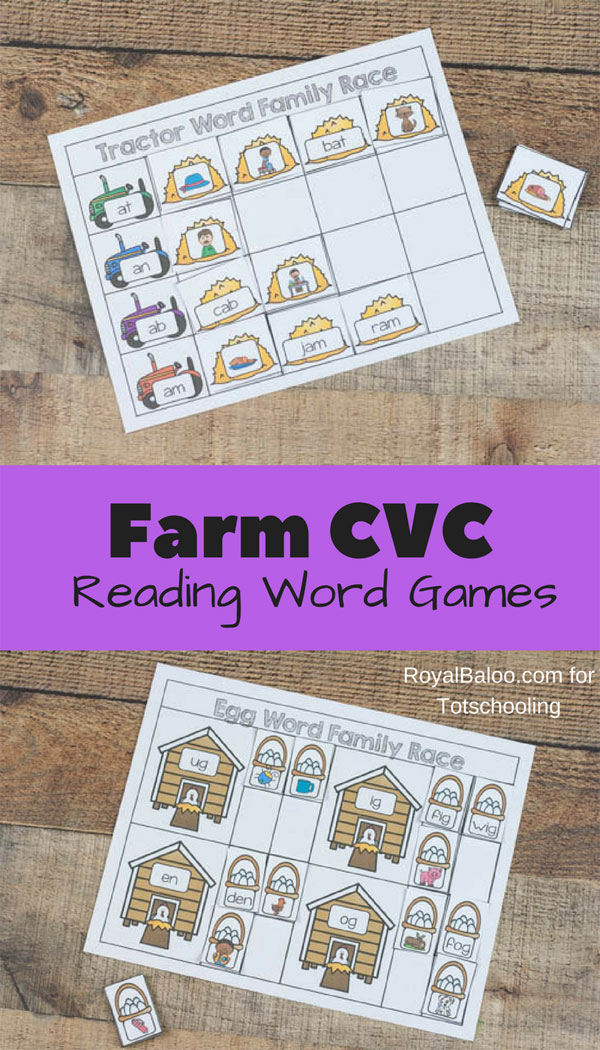 FREE printable CVC reading games for kindergarten kids featuring a farm theme. Practice word families with these fun games!