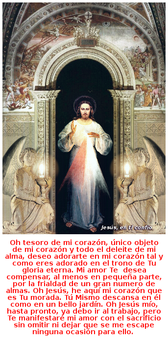 imagen de jesus divna misericordia con angeles y oracion para antes de ir a trabajar