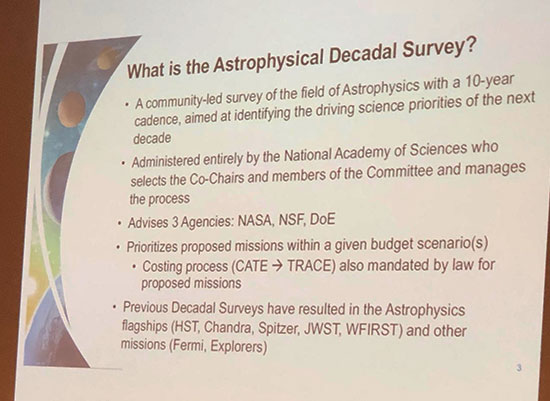 NASA and the 2020 Astrophysics Decadal Survey (Source: Rita Sambruna, NASA at April APS Meeting in Denver)