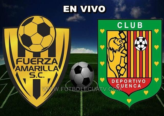 Fuerza Amarilla se enfrenta al Deportivo Cuenca en vivo 💻 desde las 12:30 horario programado por la comitiva a realizarse en el reducto de nueve mayo por la jornada doce del campeonato ecuatoriano, siendo el juez principal Mario Romero con transmisión del canal oficial GolTV.