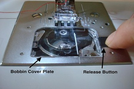 Bobbin cover release button