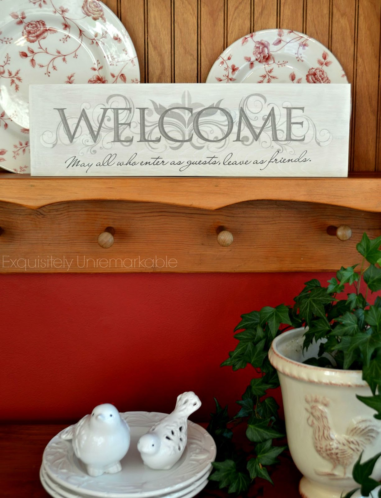 Easy Wooden Sign Made With Wall Stickers