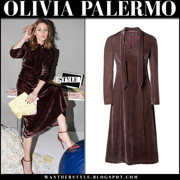 Olivia Palermo in brown red velvet midi dress for InStyle banana republic september 2017