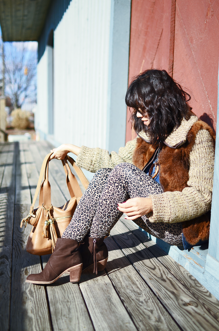 Leopard Pants Brown Booties Fur Coat