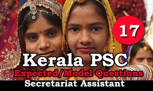 Kerala PSC Secretariat Assistant Expected Questions - 17