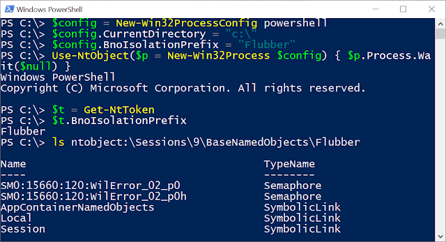 Creating a new process with a BnoIsolationPrefix value in Win32ProcessConfig. Then listing the new directory under Sessions\9\BaseNamedObjects\Flubber.