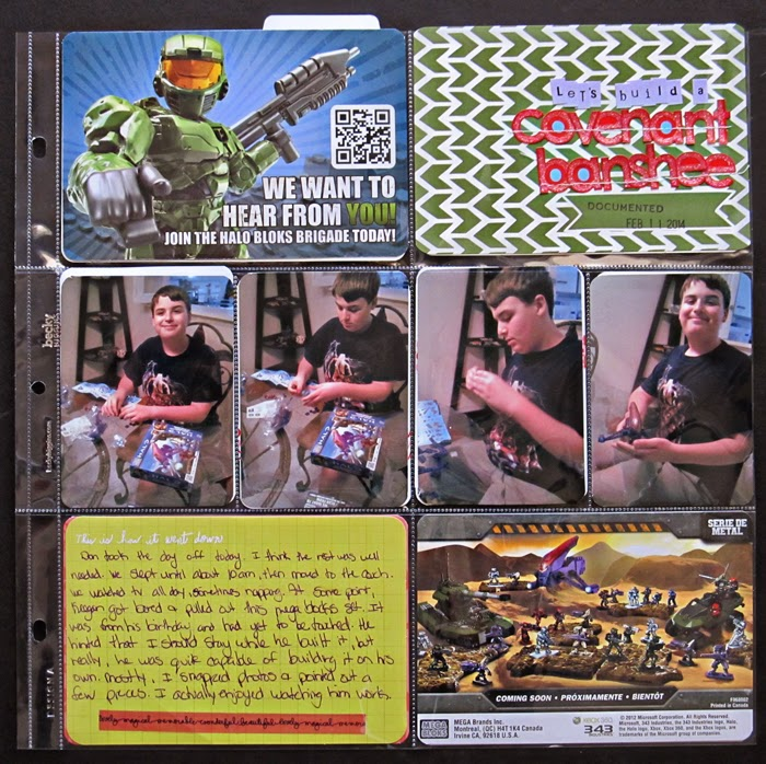 Don't forget to save the toy packaging to use in your project life and pocket page spreads. Pocket page by Christy Strickler for My Scrapbook Evolution. Photos are in a series to document how the model was built.