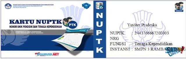 gambar kartu NUPTK model baru 2016