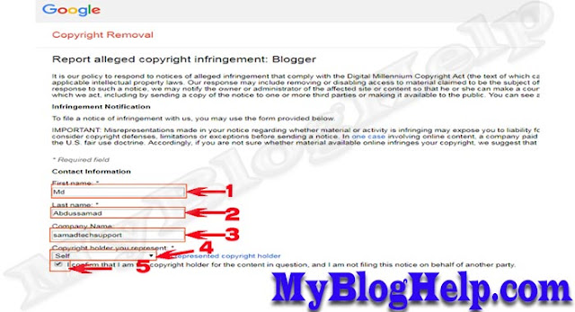 Report In Google DMCA Form About Copied Content