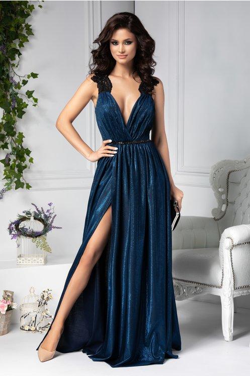 Rochie eleganta cu crapatura albastra lunga de seara
