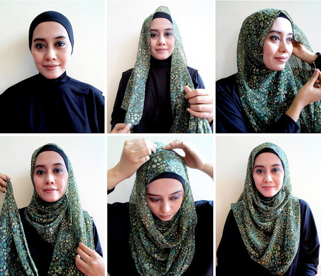 tutorial jilbab pashmina simple