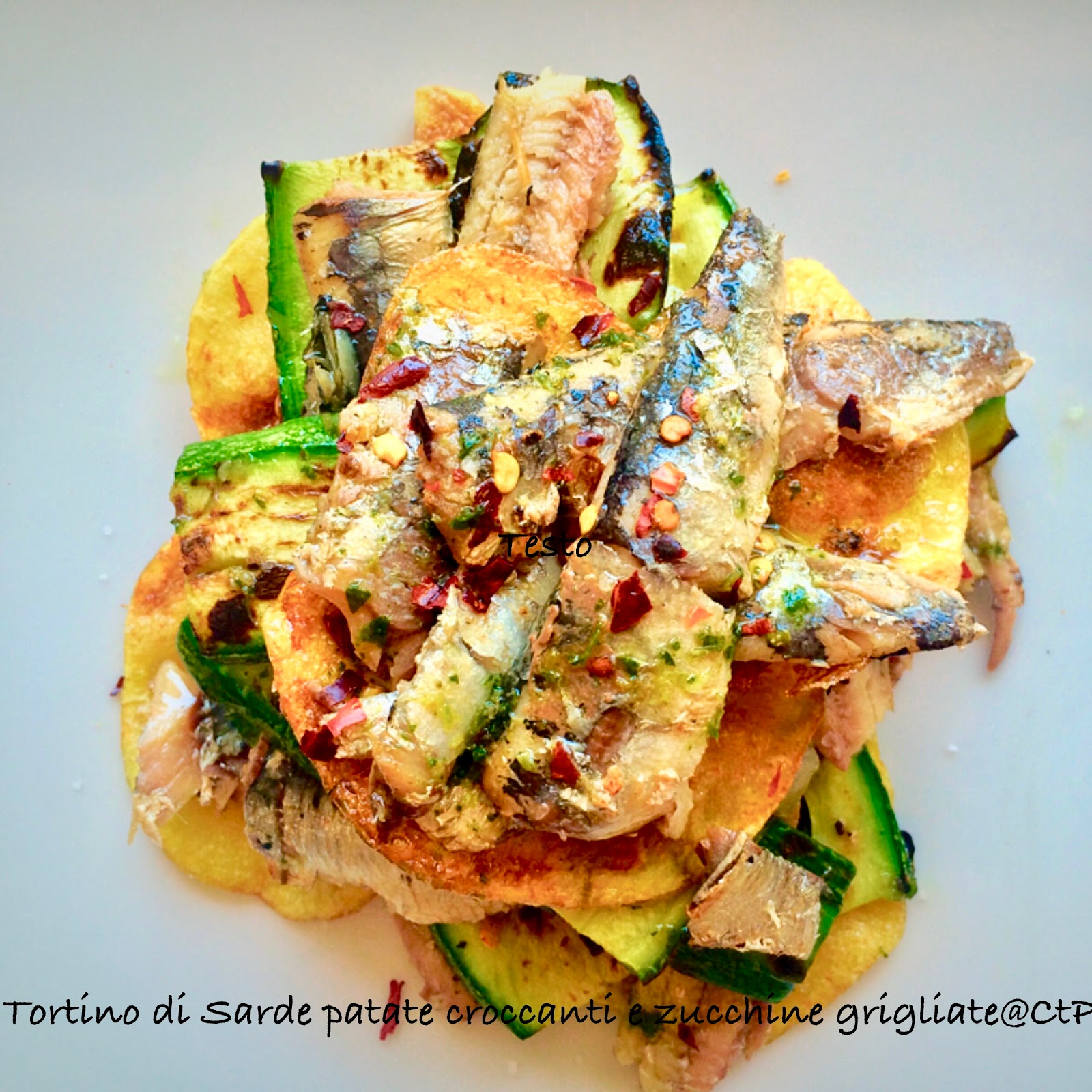 Tortino di Sarde con patate croccanti e zucchine grigliate alessandra ruggeri