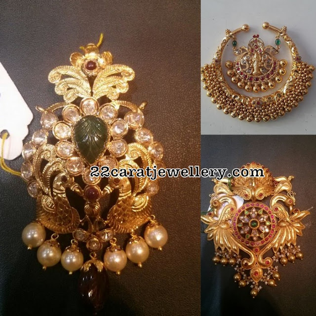 Antique Pendant Sets with Peacock Lakshmi