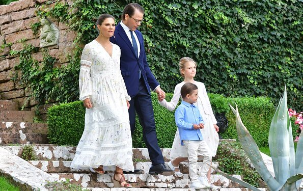 Crown Princess Victoria wore By Malina Iris dress. Prince Daniel, Princess Estelle, Prince Carl Philip and Princess Sofia
