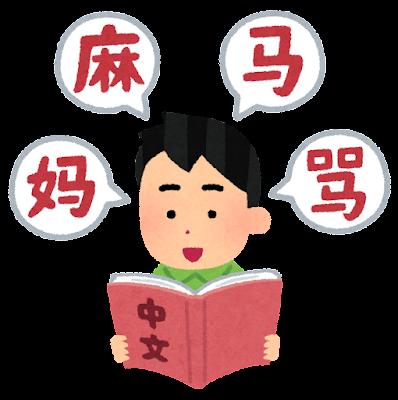 中国語を勉強する人のイラスト(男性)