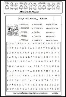 Atividades festa junina caça-palavras
