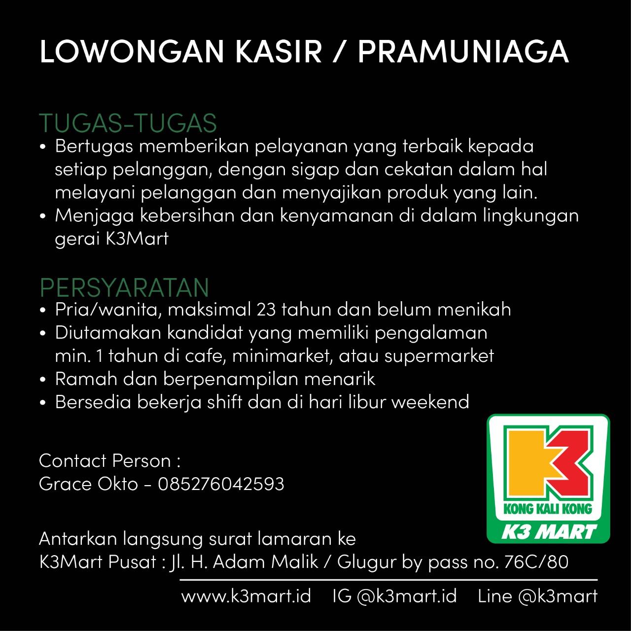 Info Loker Lulusan Sma Smk Di K3 Mart Medan April 2019 Lowongan Kerja Medan Terbaru Tahun 2021