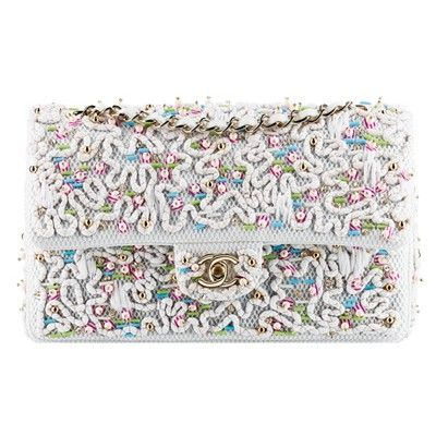 118ad4a8f2f5 (Chanel) it flap bag re-interpretation of the classic flap bag with tweed  fabrics, bags embroidered with large pearls and sequins, with white lace,  ...
