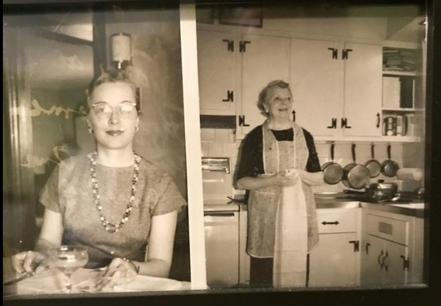 vintage photo from the 1950s or 1960s of Ruth DeHaven, and her mother, Irma Simpson DeHaven, in the kitchen of the Sears Lorne