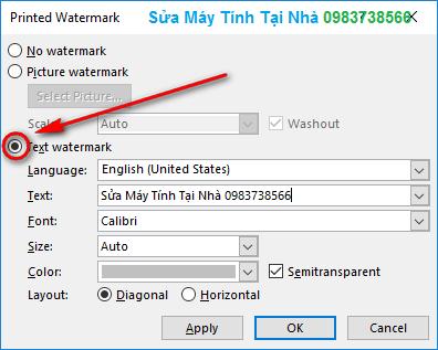 Đóng dấu bản quyền trong Word kiểu Text watermark