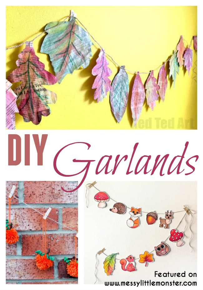 DIY garlands craft ideas.  How to make simple, quick and easy indoor decorations for Autumn (Fall).