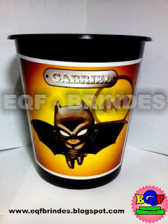 Baldinho de Pipoca Para Centro de Mesa Batman Kid, Lembrancinha Batman Kid, Brinde Batman Kid, Tema Batman Kid, Festa Batman Kid