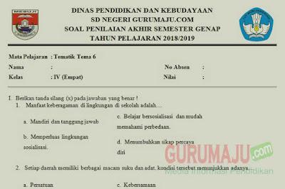 Soal PAT / UKK Kelas 4 Tema 6 Kurikulum 2013 Semester 2