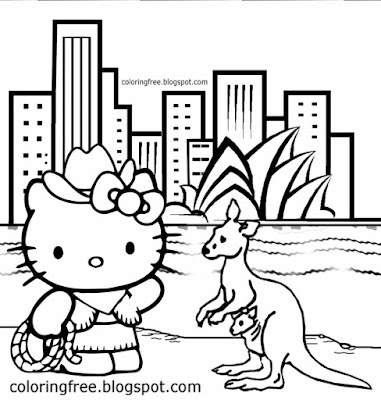 Sweet kangaroo cartoon Australian cowgirl printable Hello Kitty coloring pages for teenage girls art