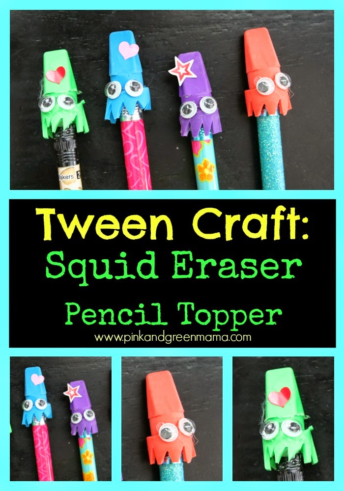 Pink And Green Mama Tween Craft Squid Eraser Pencil Toppers