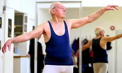 John Lowe poses at the Ballet Studio. Dancing while in his 90s. Grandpa-de-deux. marchmatron.com