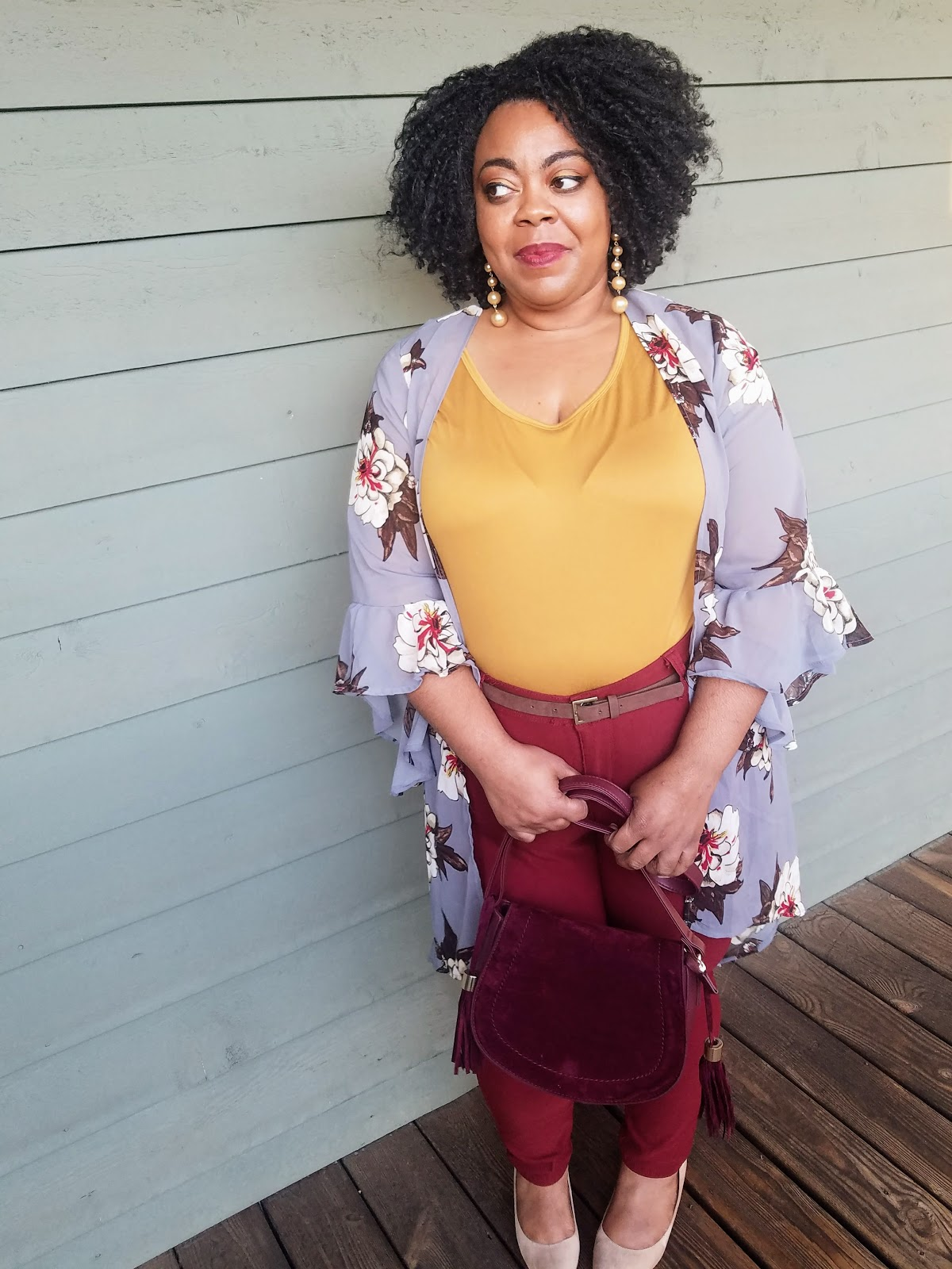 It's Fashion floral duster, Citi Trends mustard dress top, Cato Fashions faux suede pumps, Rue 21 burgundy tassel handbag