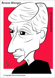 Arsene Wenger caricature bi Ian Davy Brown