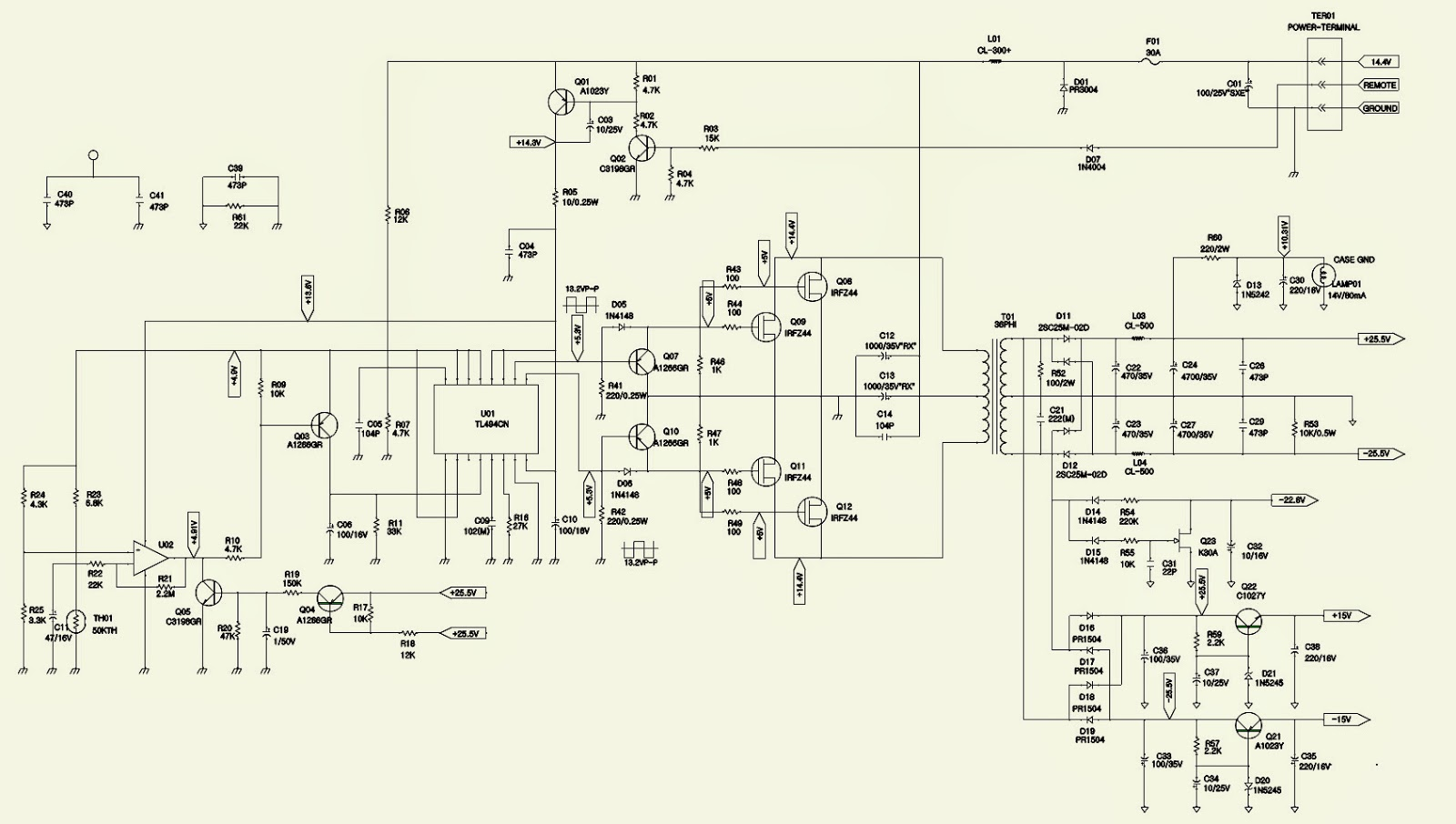 JBL DA3504  WIRING DIAGRAM  Amplifier Schematic  CAR