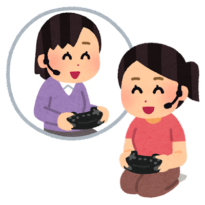 通話しながらゲームをする人たちのイラスト(女性)